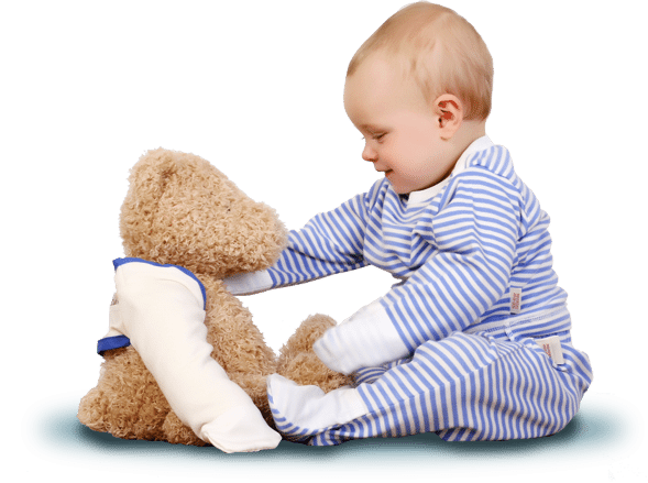 child wearing ScratchSleeves blue striped PJ top