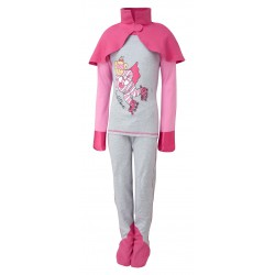 ScratchSleeves - Happy Pink SuperHero PJs with integrated scratch mitts and feet for kids with cape - front view