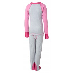ScratchSleeves - Happy Pink SuperHero PJs with integrated scratch mitts and feet for kids - back view