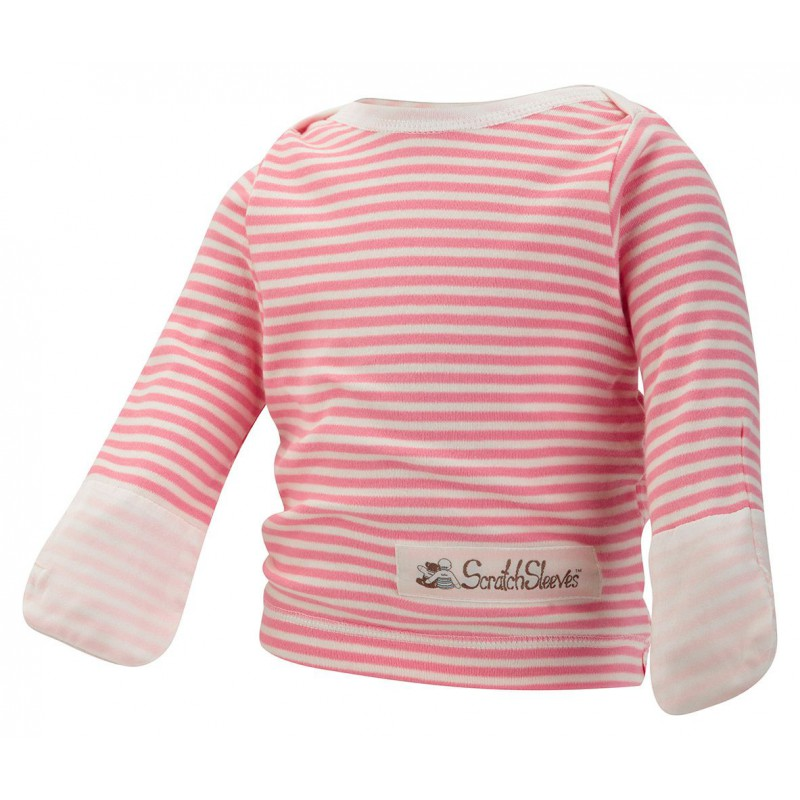 ScratchSleeves - pink stripe PJ tops with integrated Scratch Mitts for babies and  toddlers with eczema  - front view