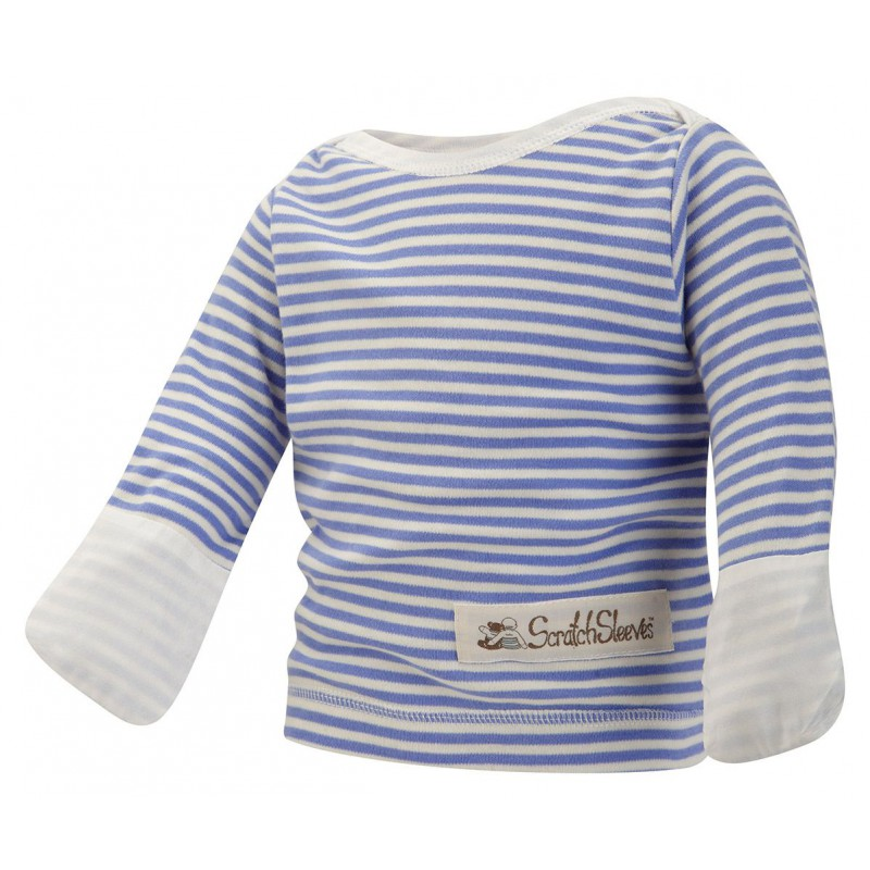 ScratchSleeves - blue stripe PJ tops with integrated Scratch Mitts for babies and  toddlers with eczema  - front view