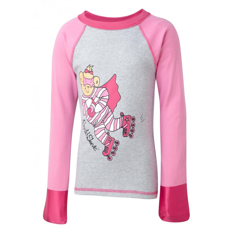 ScratchSleeves - Happy Pink SuperHero PJ tops for little kids and big kids - front view