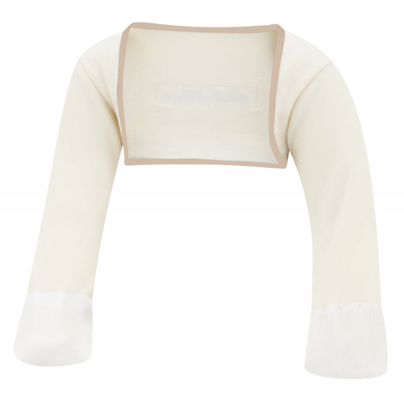 ScratchSleeves - Original Cream Scratch Mitts with Cappuccino Trim for toddlers - front view