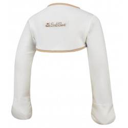 ScratchSleeves - Original Cream Scratch Mitts with Cappuccino Trim for toddlers - back view