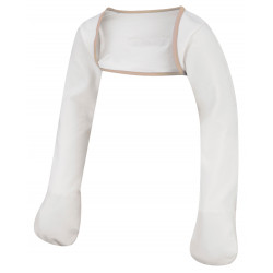 ScratchSleeves - Original Cream Scratch Mitts with Cappuccino Trim for preschoolers - front view