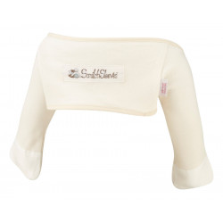 ScratchSleeves - Original Cream Scratch Mitts with Oatmeal Trim for babies - front view