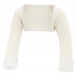 ScratchSleeves - Original Cream Scratch Mitts with Oatmeal Trim for toddler - front view