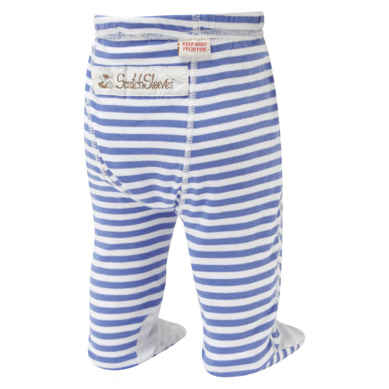 ScratchSleeves - blue stripe PJ bottoms with feet for babies and toddlers with eczema  - back view