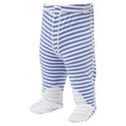 ScratchSleeves - blue stripe PJ bottoms with feet for babies and toddlers with eczema  - front view
