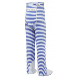 ScratchSleeves - blue stripe PJ bottoms with feet for toddlers and little kids with eczema  - back view