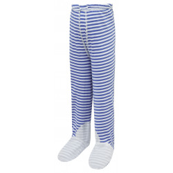 ScratchSleeves - blue stripe PJ bottoms with feet for toddlers and little kids with eczema  - front view