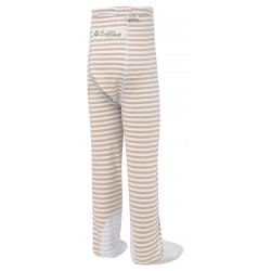 ScratchSleeves - cappuccino  stripe PJ bottoms with feet for toddlers and little kids with eczema  - back view