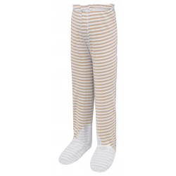 ScratchSleeves - cappuccino  stripe PJ bottoms with feet for toddlers and little kids with eczema  - front view