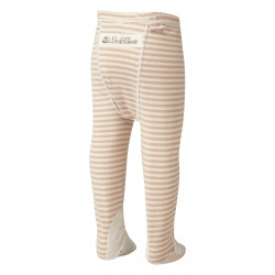 ScratchSleeves - cappuccino  stripe PJ bottoms with feet for babies, toddlers and little kids with eczema  - back view
