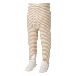 ScratchSleeves - cappuccino  stripe PJ bottoms with feet for babies, toddlers and little kids with eczema  - front view