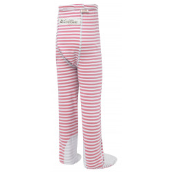 ScratchSleeves - pink stripe PJ bottoms with feet for toddlers and little kids with eczema  - back view