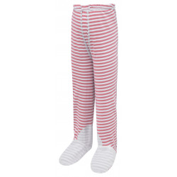 ScratchSleeves - pink stripe PJ bottoms with feet for toddlers and little kids with eczema  - front view