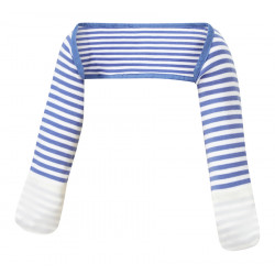 ScratchSleeves - Blue striped Scratch Mitts babies with eczema - front view
