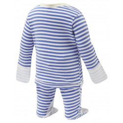 ScratchSleeves Blue striped PJ Sets with integrated scratch mittens for babies and toddlers with eczema - back view