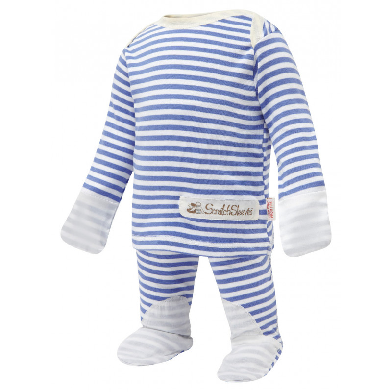 ScratchSleeves Blue striped PJ Sets with integrated scratch mittens for babies and toddlers with eczema - front view