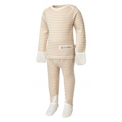 ScratchSleeves Cappuccino striped PJ Sets with integrated scratch mittens for toddler with eczema - front view