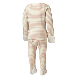 ScratchSleeves Cappuccino striped PJ sets with integrated scratch mittens for children with eczema - back view
