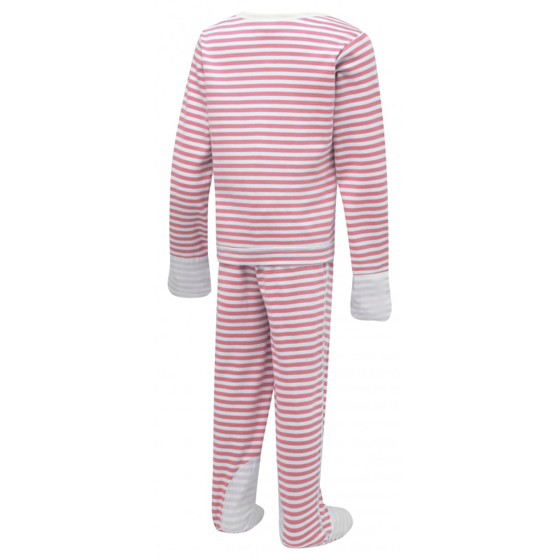 ScratchSleeves Pink striped PJ Sets with integrated scratch mittens for children with eczema - back view