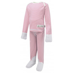 ScratchSleeves Pink striped PJ Sets with integrated scratch mittens for children with eczema - front view