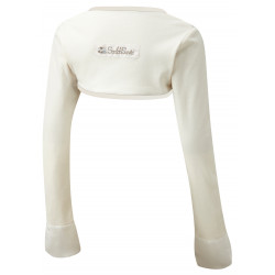 ScratchSleeves - Original Cream Scratch Mitts with Oatmeal Trim for big kids - front view
