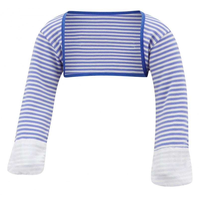 ScratchSleeves - Blue striped Scratch Mitts toddlers with eczema - front view