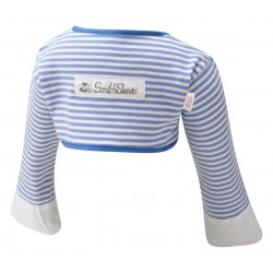 ScratchSleeves - Blue striped Scratch Mitts Toddlers with eczema - back view
