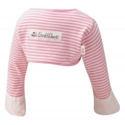ScratchSleeves - Pink striped Scratch Mitts toddlers with eczema - back view