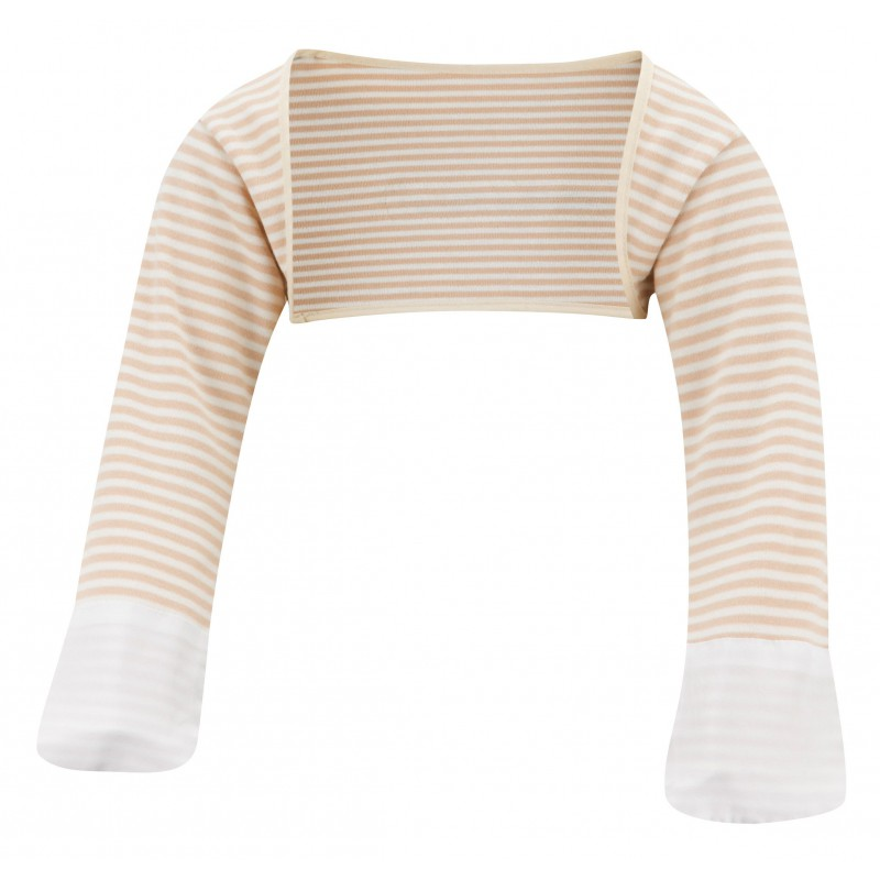 ScratchSleeves - Cappuccino striped Scratch Mitts Toddlers with eczema - front view