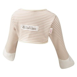 ScratchSleeves - Cappuccino striped Scratch Mitts Toddlers with eczema - back view