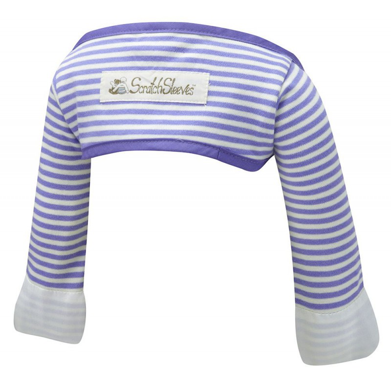 ScratchSleeves - Blue striped Scratch Mitts babies with eczema -  back view