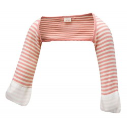 ScratchSleeves - Pink striped Scratch Mitts babies with eczema - front view