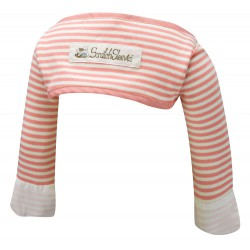 ScratchSleeves - Pink striped Scratch Mitts babies with eczema - back view