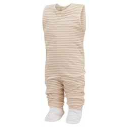 ScratchSleeves - Cappuccino Dungaree PJ Bottoms with integrated feet for toddlers and little kids with eczema - front view