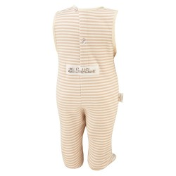 ScratchSleeves - Cappuccino Dungaree PJ Bottoms with integrated feet for toddlers and little kids with eczema - back view