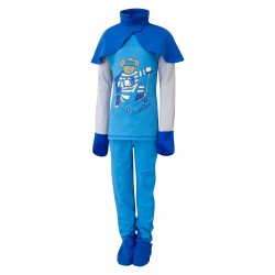 ScratchSleeves - Kingfisher blue SuperHero PJs with integrated scratch mitts and feet for kids with cape - front view