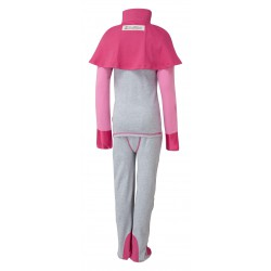 ScratchSleeves - Happy Pink SuperHero PJs with integrated scratch mitts and feet for kids with cape - back view