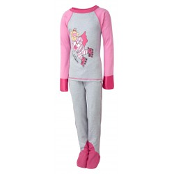 ScratchSleeves - Happy Pink SuperHero PJs with integrated scratch mitts and feet for little kids and big kids - front view